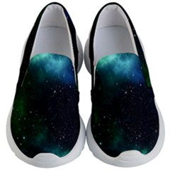 Galaxy Sky Blue Green Kid s Lightweight Slip Ons by snowwhitegirl