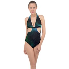 Galaxy Sky Blue Green Halter Front Plunge Swimsuit