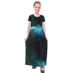 Galaxy Sky Blue Green Kids  Short Sleeve Maxi Dress by snowwhitegirl
