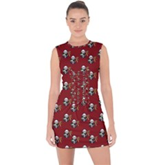 Panda With Bamboo Red Lace Up Front Bodycon Dress