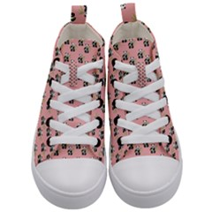Panda With Bamboo Pink Kid s Mid Top Canvas Sneakers