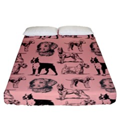 Dog Pattern Pink Fitted Sheet (queen Size) by snowwhitegirl