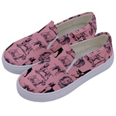 Dog Pattern Pink Kids  Canvas Slip Ons by snowwhitegirl