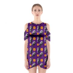 Halloween Skeleton Pumpkin Pattern Purple Shoulder Cutout One Piece Dress