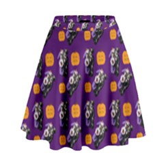 Halloween Skeleton Pumpkin Pattern Purple High Waist Skirt by snowwhitegirl