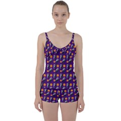 Halloween Skeleton Pumpkin Pattern Purple Tie Front Two Piece Tankini