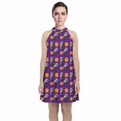 Halloween Skeleton Pumpkin Pattern Purple Velvet Halter Neckline Dress