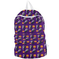 Halloween Skeleton Pumpkin Pattern Purple Foldable Lightweight Backpack