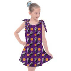 Halloween Skeleton Pumpkin Pattern Purple Kids  Tie Up Tunic Dress