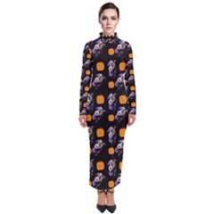 Halloween Skeleton Pumpkin Pattern Black Turtleneck Maxi Dress