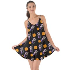 Halloween Skeleton Pumpkin Pattern Black Love The Sun Cover Up