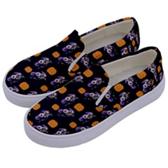 Halloween Skeleton Pumpkin Pattern Black Kids  Canvas Slip Ons by snowwhitegirl