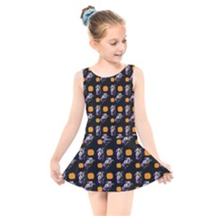 Halloween Skeleton Pumpkin Pattern Black Kids  Skater Dress Swimsuit