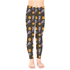 Halloween Skeleton Pumpkin Pattern Brown Kids  Legging by snowwhitegirl