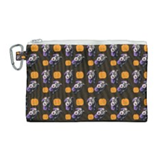 Halloween Skeleton Pumpkin Pattern Brown Canvas Cosmetic Bag (large)