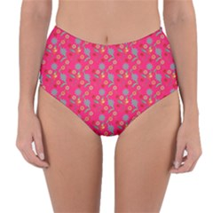 Vintage Floral Pink Reversible High Waist Bikini Bottoms