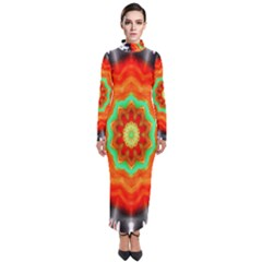 Abstract Kaleidoscope Colored Turtleneck Maxi Dress