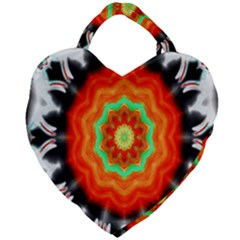 Abstract Kaleidoscope Colored Giant Heart Shaped Tote by Samandel