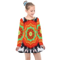 Abstract Kaleidoscope Colored Kids  Long Sleeve Dress