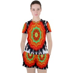 Abstract Kaleidoscope Colored Women s Tee And Shorts Set