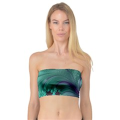 Fractal Turquoise Feather Swirl Bandeau Top
