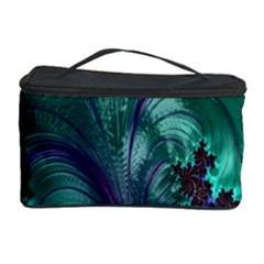 Fractal Turquoise Feather Swirl Cosmetic Storage