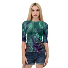 Fractal Turquoise Feather Swirl Quarter Sleeve Raglan Tee