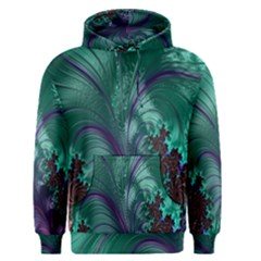 Fractal Turquoise Feather Swirl Men s Pullover Hoodie