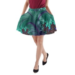 Fractal Turquoise Feather Swirl A Line Pocket Skirt by Samandel