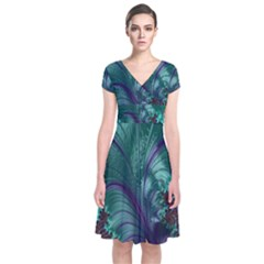 Fractal Turquoise Feather Swirl Short Sleeve Front Wrap Dress