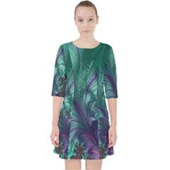 Fractal Turquoise Feather Swirl Pocket Dress