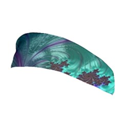 Fractal Turquoise Feather Swirl Stretchable Headband