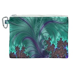 Fractal Turquoise Feather Swirl Canvas Cosmetic Bag (xl)