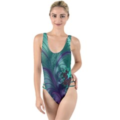 Fractal Turquoise Feather Swirl High Leg Strappy Swimsuit