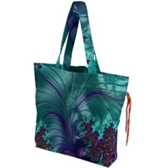 Fractal Turquoise Feather Swirl Drawstring Tote Bag by Samandel