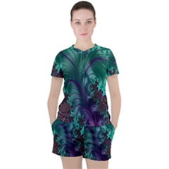 Fractal Turquoise Feather Swirl Women s Tee And Shorts Set