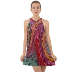 Color Rainbow Abstract Flow Merge Halter Tie Back Chiffon Dress