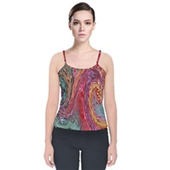 Color Rainbow Abstract Flow Merge Velvet Spaghetti Strap Top