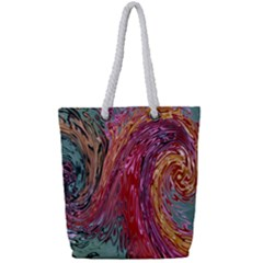 Color Rainbow Abstract Flow Merge Full Print Rope Handle Tote (small) by Samandel