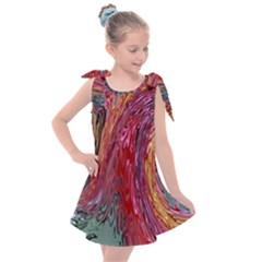 Color Rainbow Abstract Flow Merge Kids  Tie Up Tunic Dress