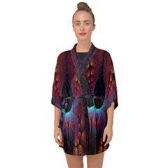 Abstract Abstracts Geometric Half Sleeve Chiffon Kimono