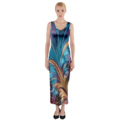 Fractal Art Artwork Psychedelic Fitted Maxi Dress