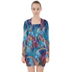 Fractal Art Artwork Psychedelic V Neck Bodycon Long Sleeve Dress
