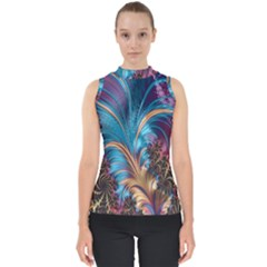 Fractal Art Artwork Psychedelic Mock Neck Shell Top