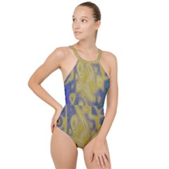 Color Explosion Colorful Background High Neck One Piece Swimsuit