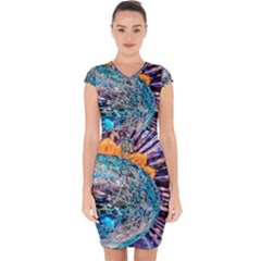 Multi Colored Glass Sphere Glass Capsleeve Drawstring Dress