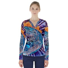 Multi Colored Glass Sphere Glass V Neck Long Sleeve Top
