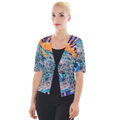 Multi Colored Glass Sphere Glass Cropped Button Cardigan
