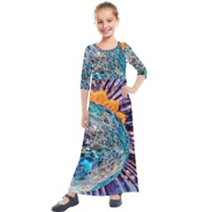 Multi Colored Glass Sphere Glass Kids  Quarter Sleeve Maxi Dress by Samandel