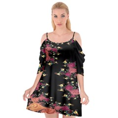 Fractal Fantasy Art Design Swirl Cutout Spaghetti Strap Chiffon Dress